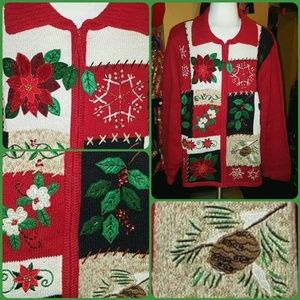 Sweaters - 🌱POINSETTIA BEAD BLING SEQUIN UGLY XMAS SWEATER